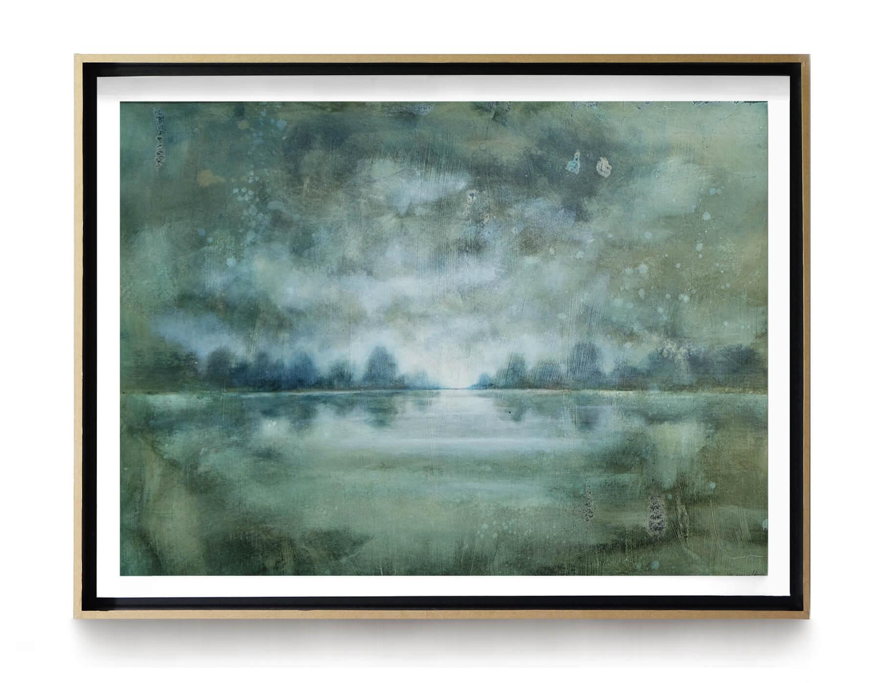 paysage_brume _65x50cm_acrylique_et_encre_sur_papier_cadre_chene_lightbox