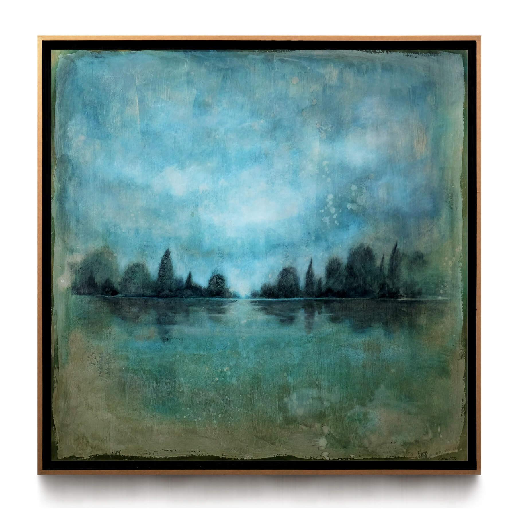 paysage_lagune_bleu_80x80cm_acrylique_et_encre_sur_carton_encadree_lightbox