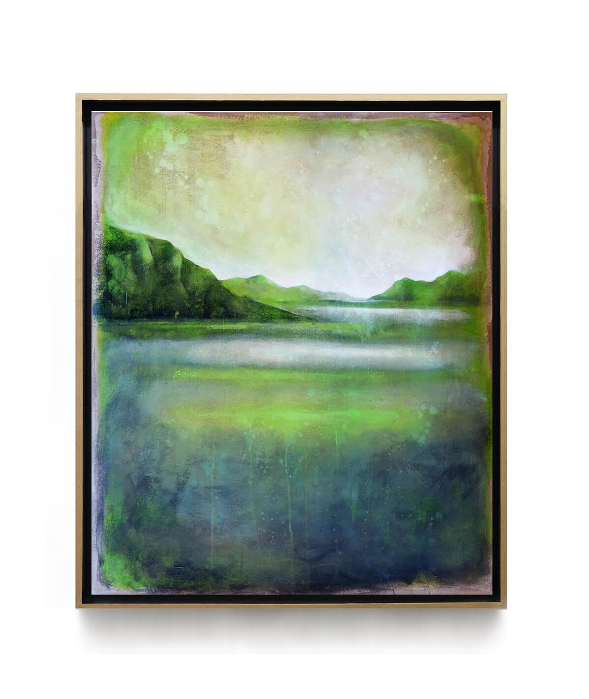 paysage_lagune_vert_100x80cm_acrylique_et_encre_sur_carton_encadre_lightbox